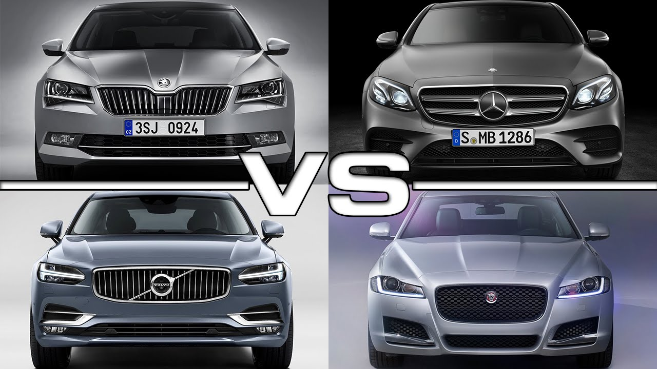 skoda superb vs mercedes e-class vs volvo s90 vs jaguar xf - youtube