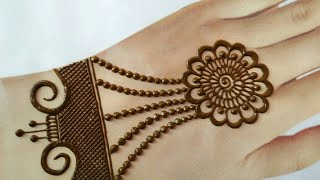 Latest chain style jewellery mehndi design for back hands | Navratri special easy & simple mehndi