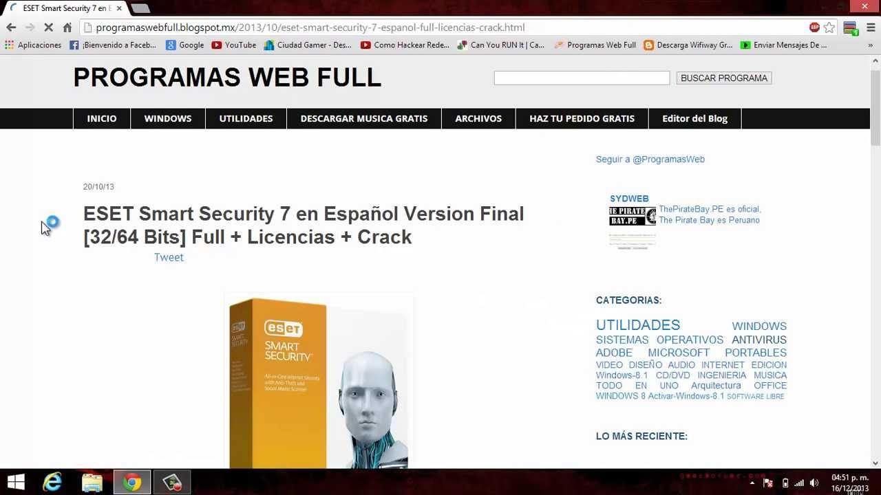 Descargar instalar y activar eset smart security 7 o eset nod 32 7 de por vida