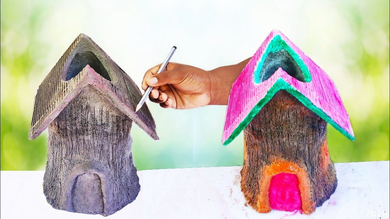 Amazing cement craft ideas for garden | how to make a tree house flower pot