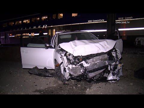 Amtrak Surfliner Train Hits Car, Driver Flees | Simi Valley