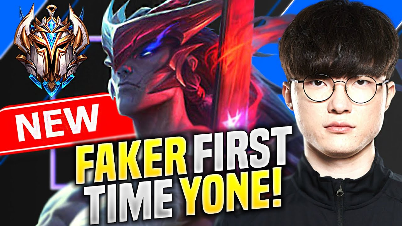 FAKER FIRST TIME PLAYING YONE! * NEW CHAMPION *  T1 Faker Plays Yone vs Ezreal ADC! | KR Patch 10.16