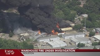 Explosions, smoke, flames seen at a massive warehouse fire in Houston