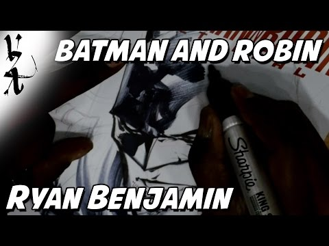 Ryan Benjamin drawing Batman and Robin