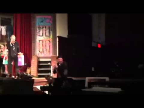 Eric throws Pie in face of music teacher at Curtis HS play