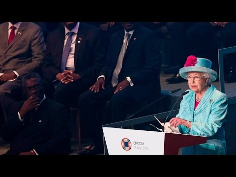 Queen Elizabeth opens the Commonwealth Heads of Government meeting in Malta