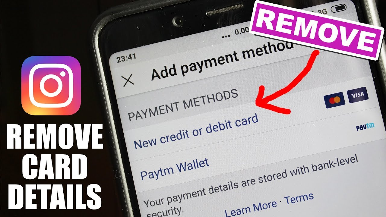 How To Remove Debit Credit Card From Instagram Youtube