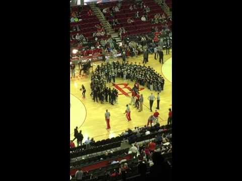 CCI choir singing national anthem at the Rockets game tonight. Go Zoe!!