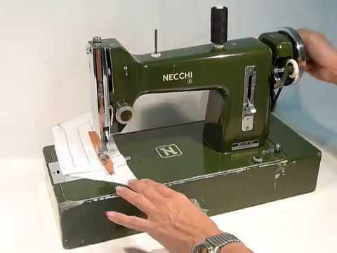 NECCHI BF Serie NOVA Mid 40s Army Green Full Metal Hand Crank Gorgeous Necchi Bf Mira Sewing Machine