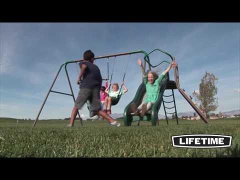 Lifetime 90462 Climb & Slide Playset (Earthtone) With Climbing Wall