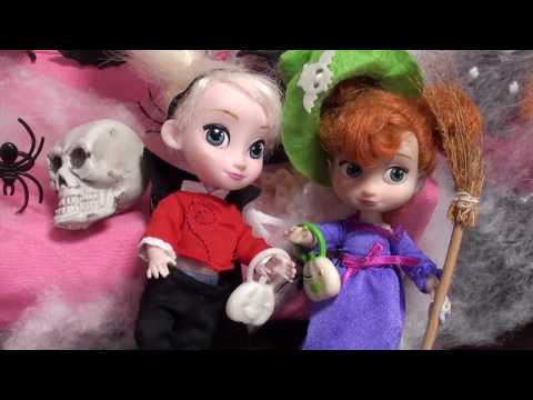 Elsa and Anna toddlers celebrate Halloween, go trick or treating halloween fun with Barbie,
