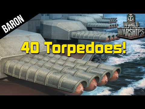 World of Warships 40 TORPEDOES!  Kitakami vs Yamato, Japanese Cruiser