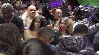 Cardi B hands out coats, takes selfies with fans in Brooklyn