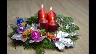Рождественский венок/ украшение на праздничный стол своими руками/ Adventskranz