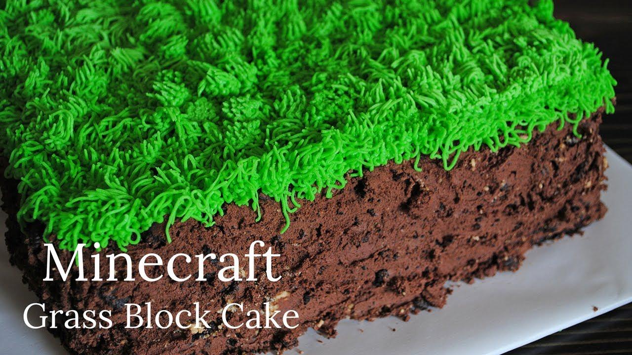 Grass Block Birthday Cake