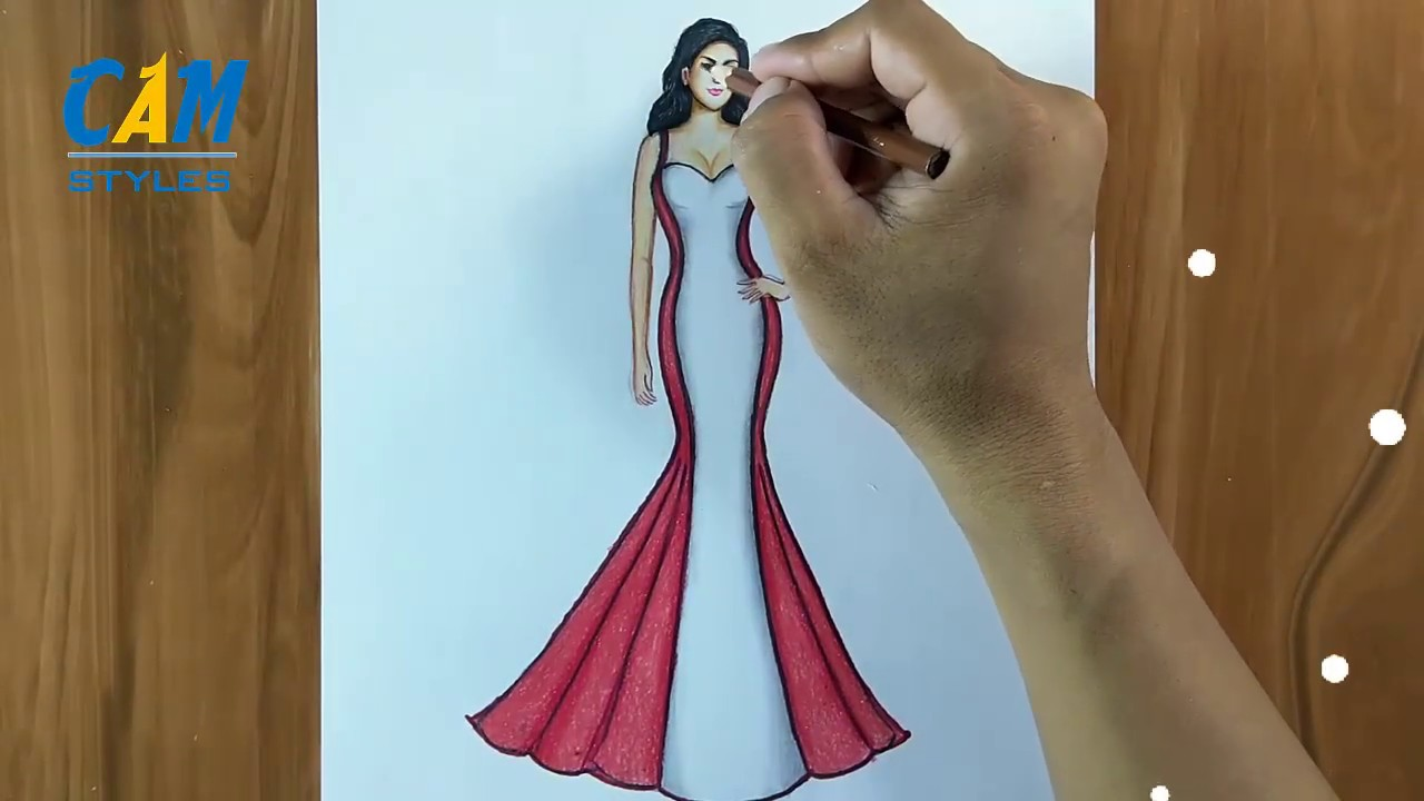 Woman Dress Drawing How To Draw A Girl With Beautiful Dress Youtube