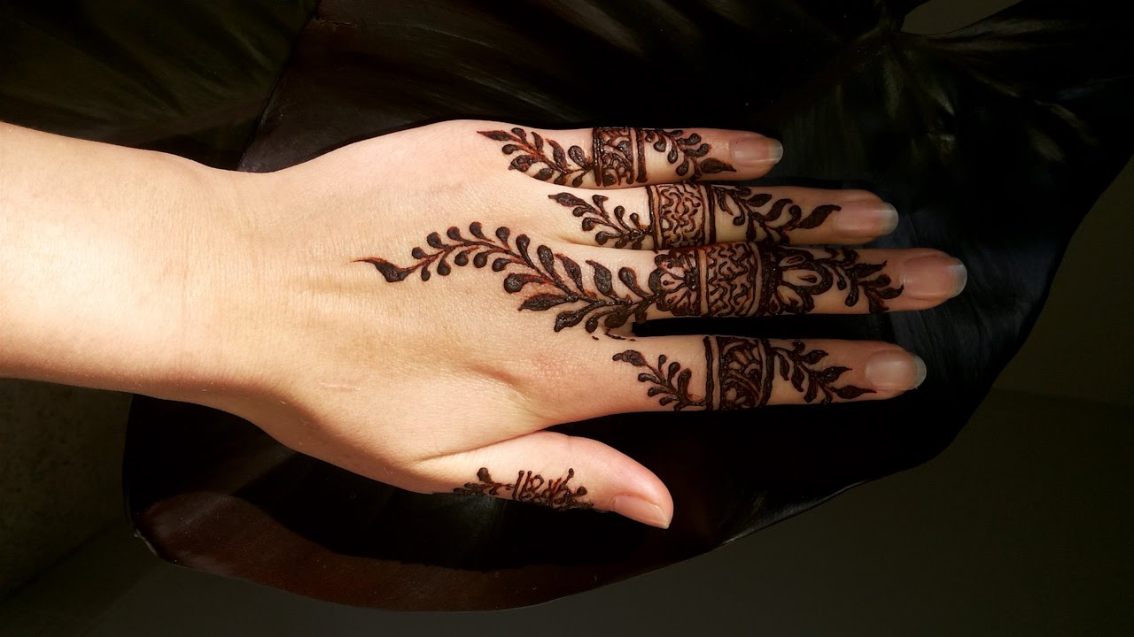 Mehndi Design For Fingers Front Side : Stylish mehndi tutorial on fingers for eid