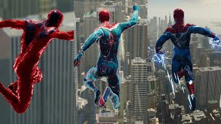 Spider-man PS4 - Jumping Off Avengers Tower With DLC Suits Using Powers