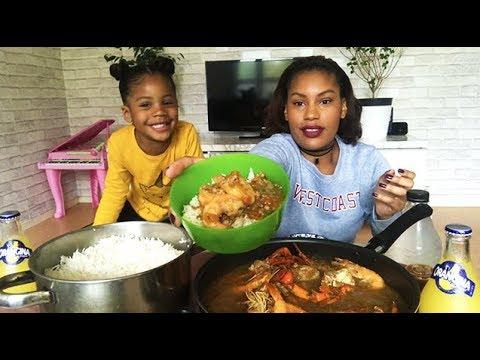 JUMBO SHRIMP + CRAB + OKRAS MUKBANG / GABONESE SEAFOOD BOIL • EATING SHOW • 새우 먹방