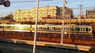 山陽本線と山陽電気鉄道が並走する朝霧駅