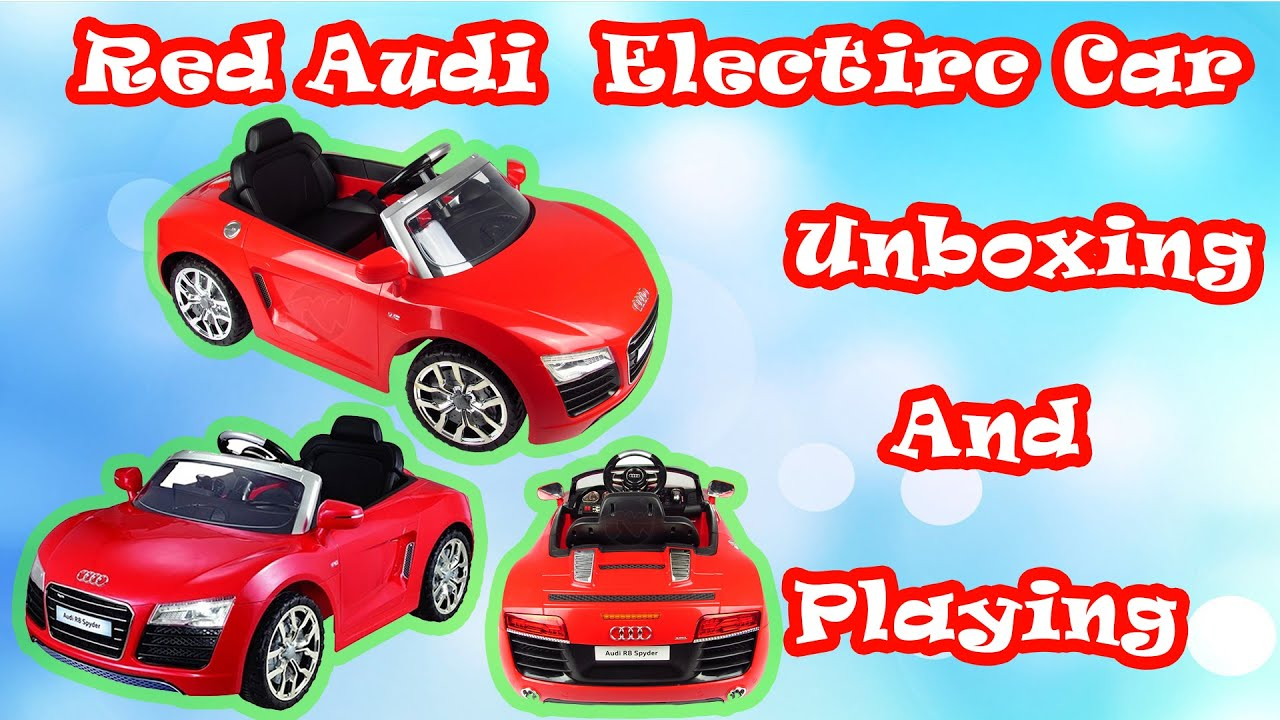 Unboxing New Red Audi Spiderman Battery Kids Ride On Super Audi - Audi r8 6v car