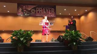Desiree Charbonnet campaigns at Beacon Light Baptist Church in New Orleans