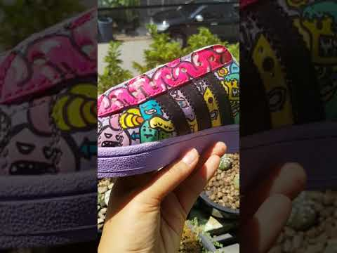 Custom shoes style doodle art on Adidas😜 Paint Shoes