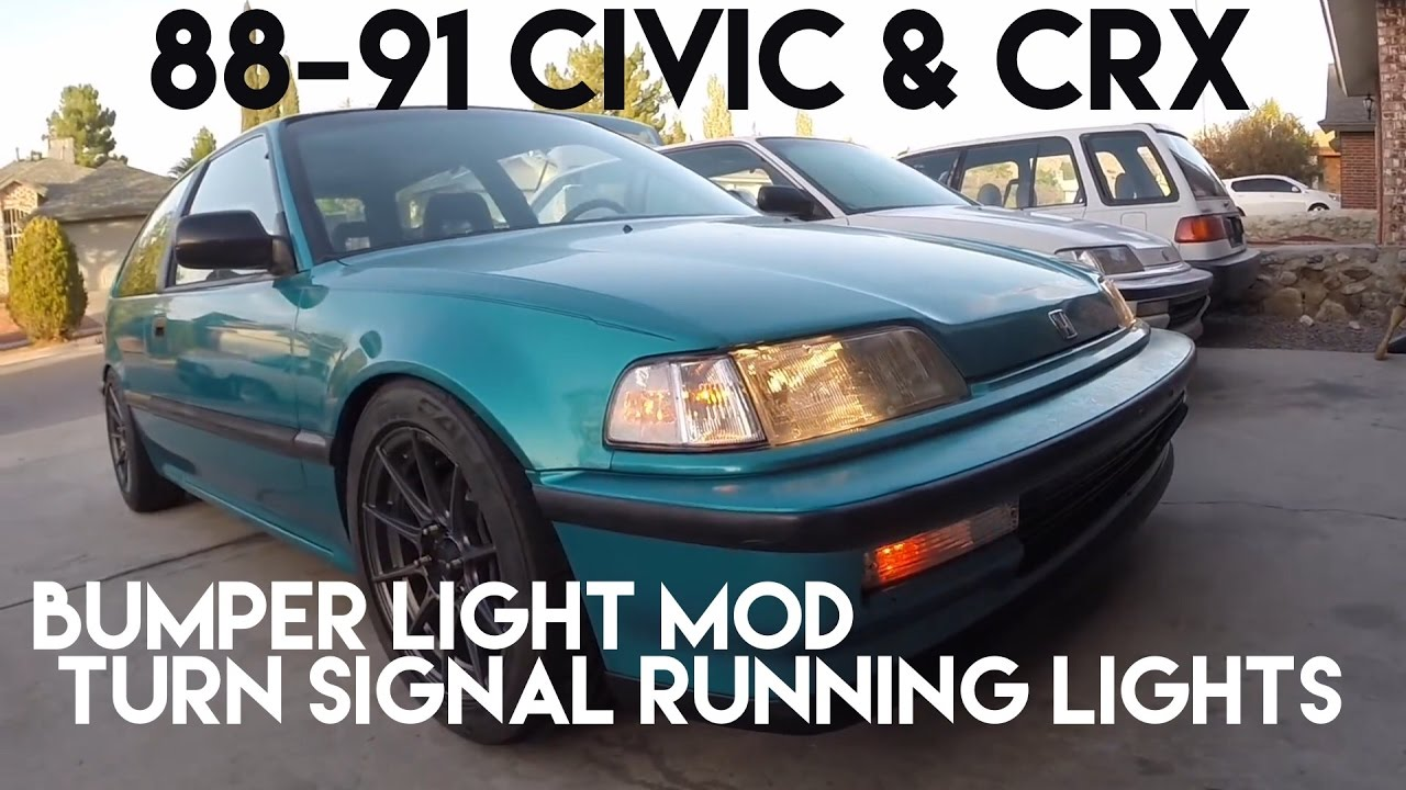 how to ef civic crx bumper light mod running light and blinker fog light youtube [ 1280 x 720 Pixel ]