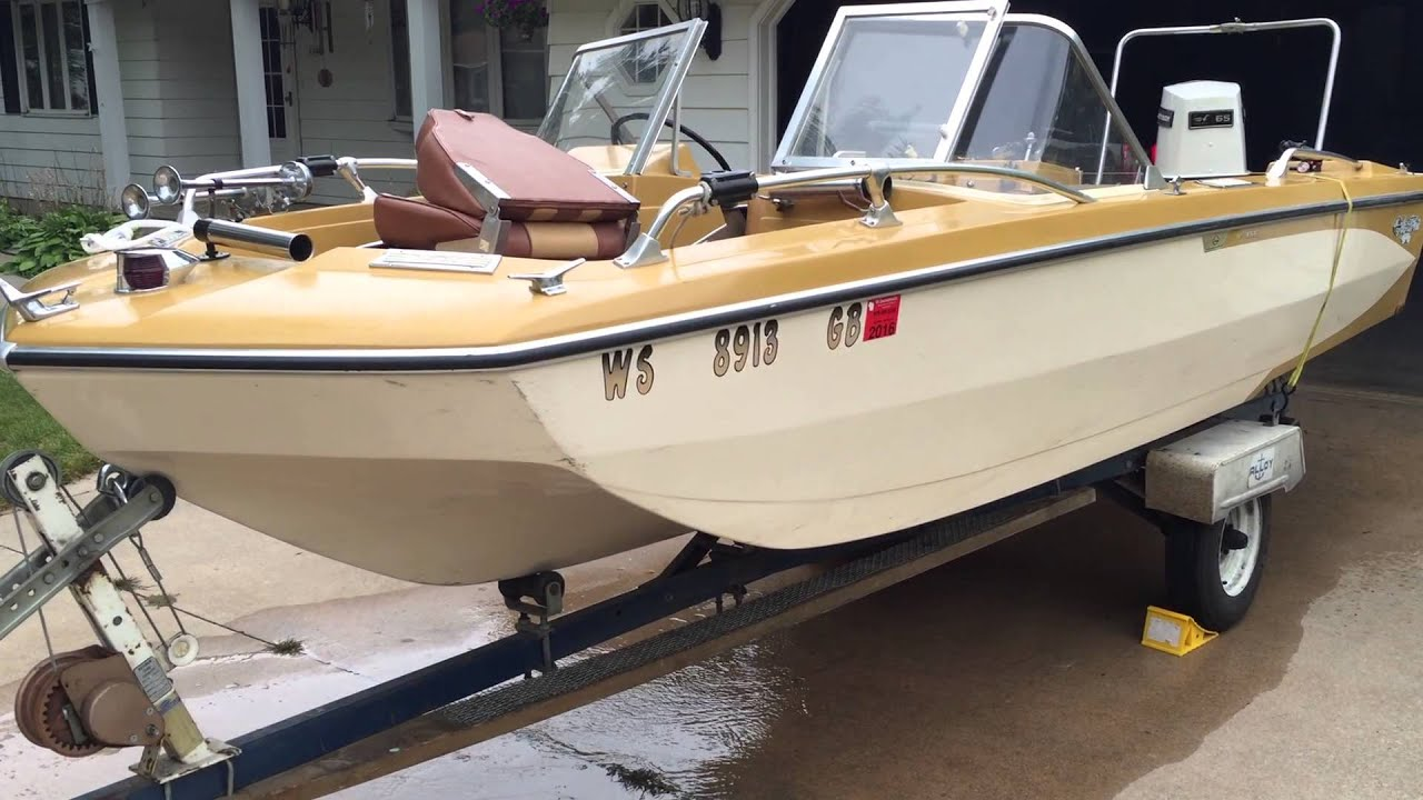 1968 Glastron V156 Sportster with 1973 Johnson 65 hp Powershift II outboard  walk around