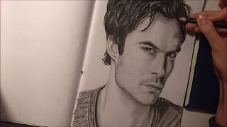 WATCH ME DRAW 24 -  Ian Somerhalder as Damon Salvatore [The Vampire Diaries]
