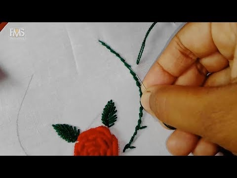 Hand embroidery, Rose flower embroidery designs, Red flowers hand embroidery designs