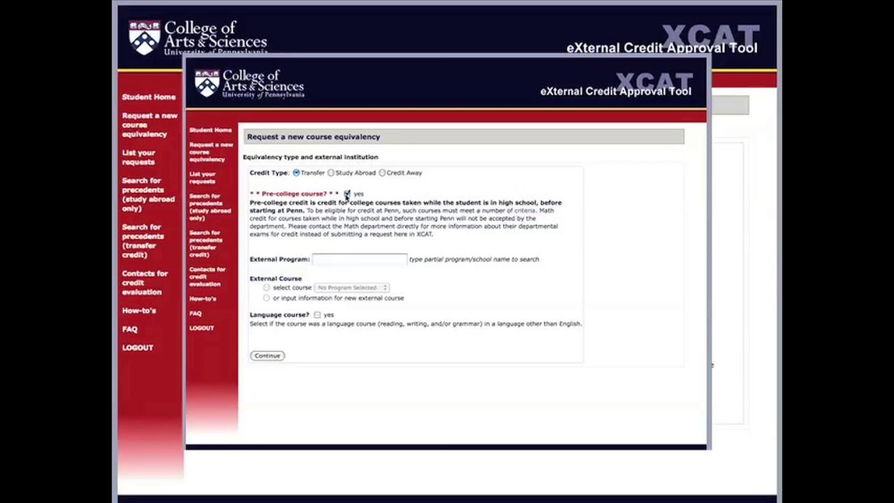 External Degree Application Form, Equivalent Credit College Of Arts Sciences University Of Pennsylvania, External Degree Application Form
