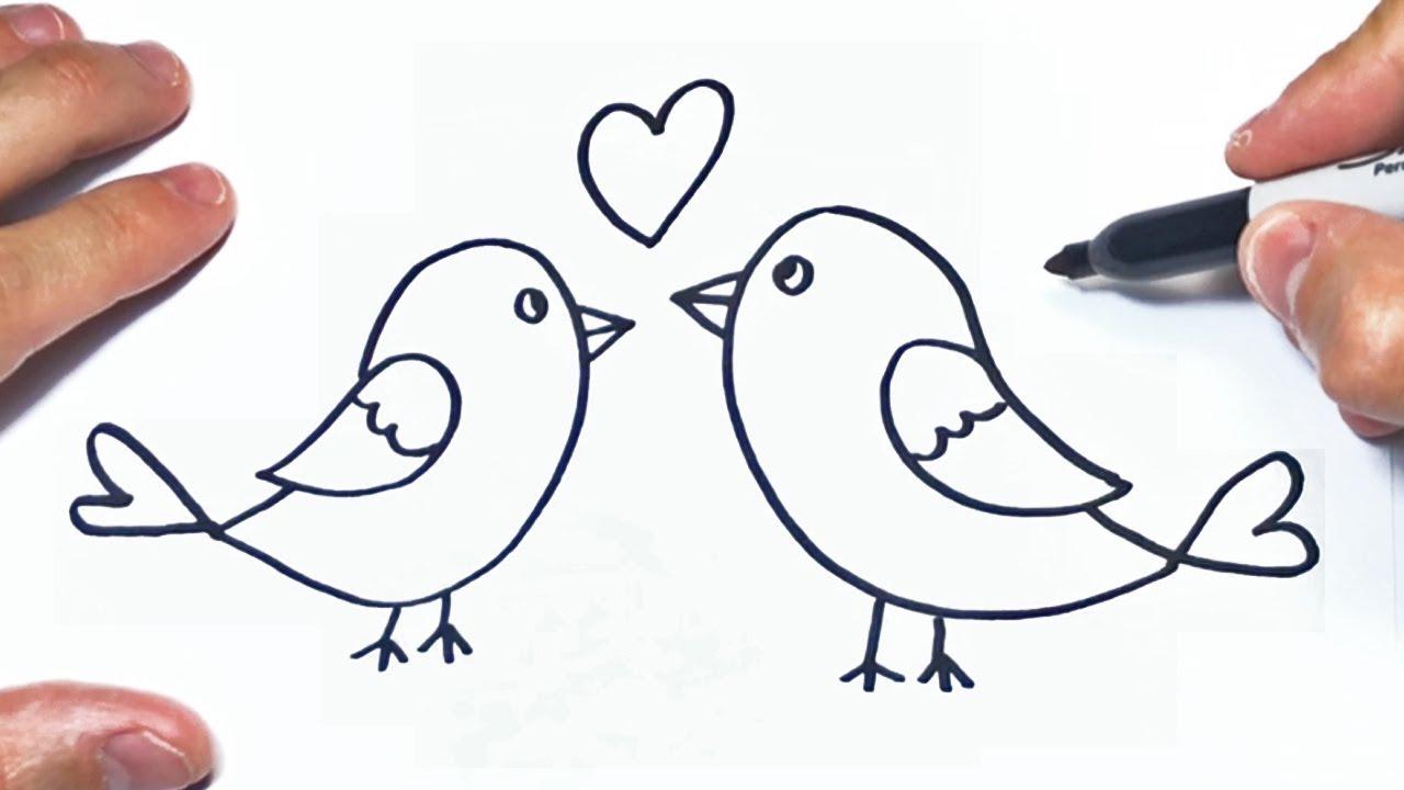 Como Dibujar Unos Pajaros Enamorados Paso A Paso Youtube