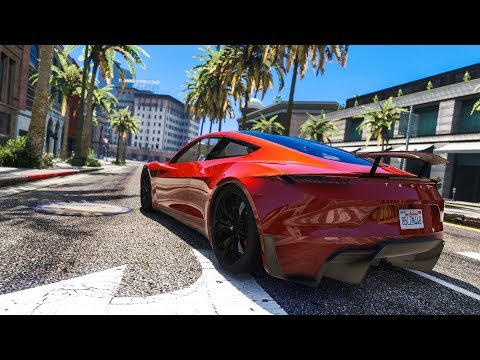 CRAZY REAL LIFE CAR STUNT! - (GTA 5 Tesla Roadster Mod)