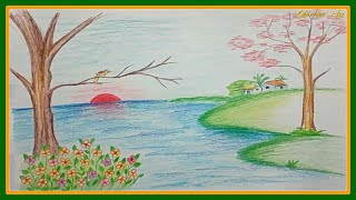 easy drawing nature drawings simple scenery landscape paintingvalley colored pencils explore