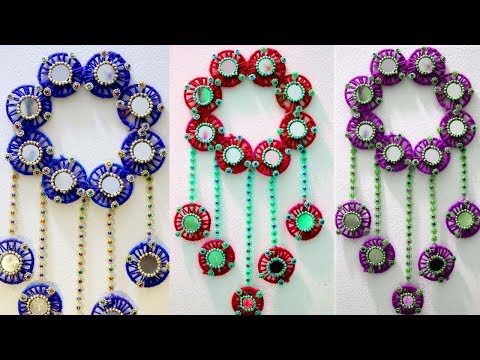 DIY wall hanging decor from old waste bangles - Room decor ideas for diwali - Old bangles craft