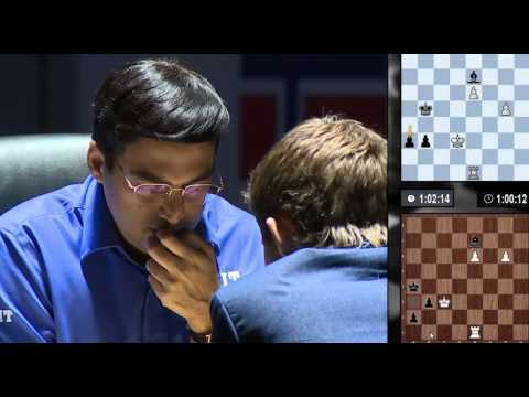 Excited Magnus Carlsen, Anxious Anand - End of Rd11 - World Chess Championship 2014