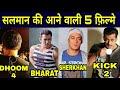 Salman khan upcoming 5 Movies, Salman Khan की आने वाली 5 फ़िल्मे, Race 4, Sherkhan, Dhoom 4, Kick 2