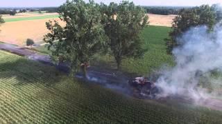 Pożar przyczepy w Młodzikowie (Gm. Krzykosy, powiat Średzki)