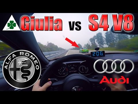 Giulia Quadrifoglio meets Audi S4 V8 on German Autobahn ✔