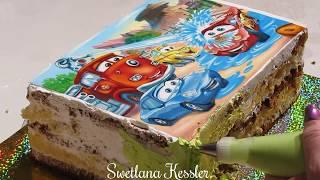 Детский торт с сахарной картинкой