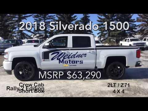 2018 Chevrolet Silverado 1500 Rally 2 / Crew Cab, Short Box / White, 2LT, 4X4 / 18n146. Weidner Motors Ltd.