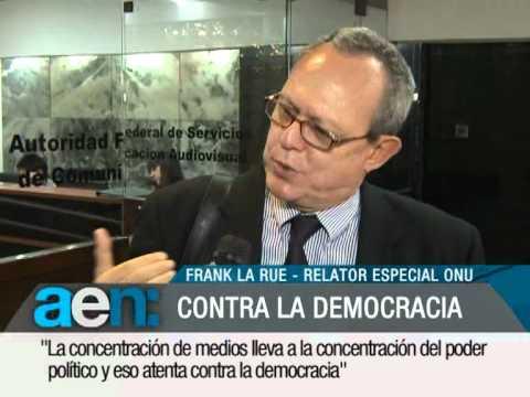 AEN 15-10-2012 18HS:Frank La Rue concentración monopolica en los medios_Exportación agricultura