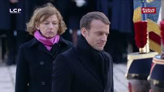 Hommage à Jean d'Ormesson : l'arrivée d'Emmanuel Macron aux Invalides