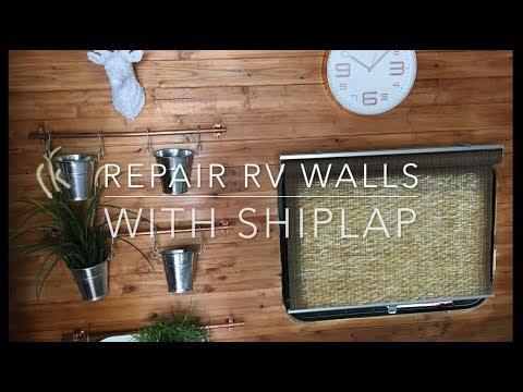 install-shiplap-rv-wall-|-repair-window-leak