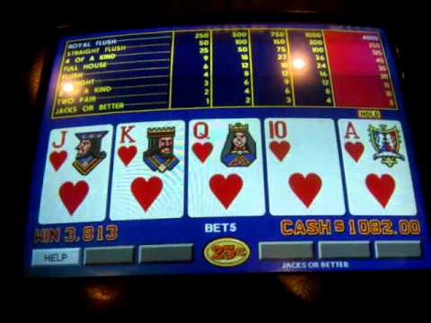 Video Poker Royal Flush $1,000 Jackpot, from Ace by itself