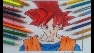 Como Desenhar Goku Super Saiyan god passo a passo - How To Draw Goku Super Saiyan god