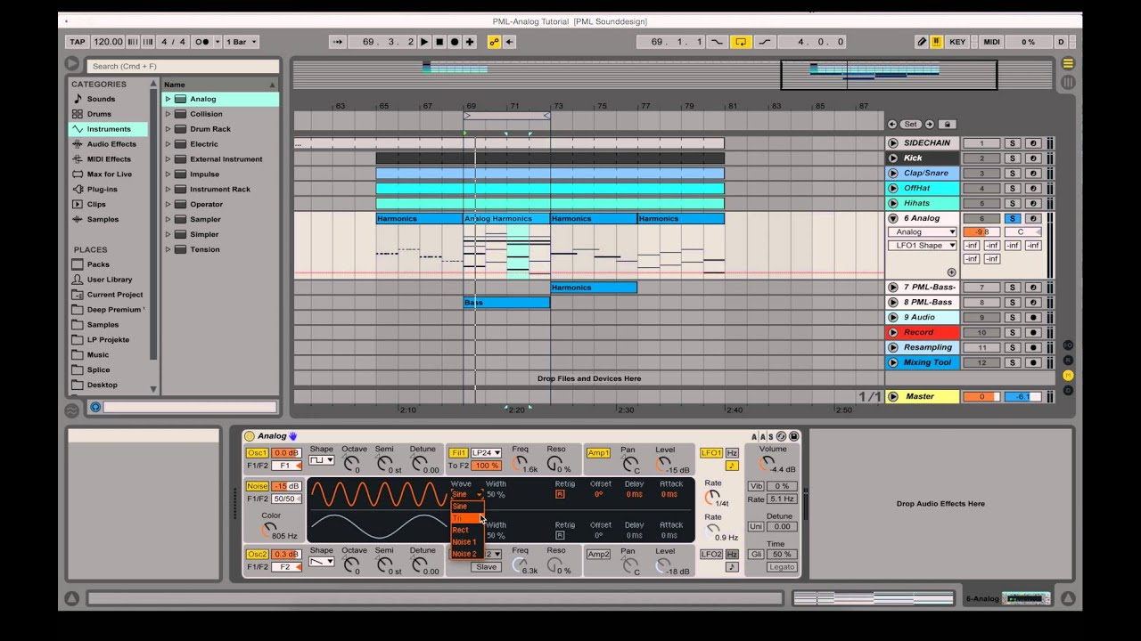 Using Ableton Built In Analog Instrument How To Video Tutorial Youtube
