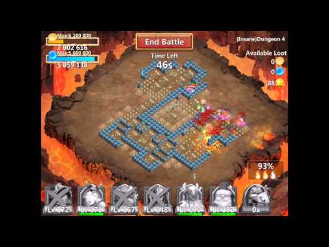 Castle Clash Insane Dungeon 4-10 With F2p Heroes