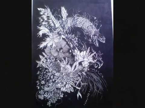 Papercraft papercraft  dragon &flower